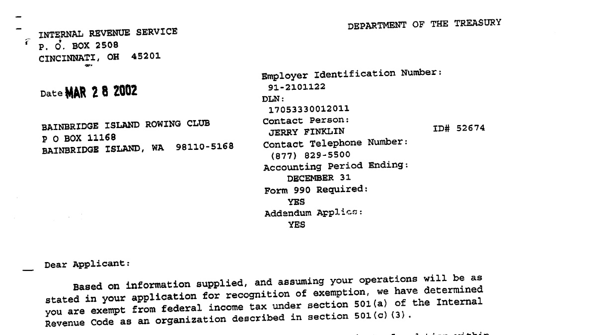 BIR IRS 501(c)(3) Letter Header
