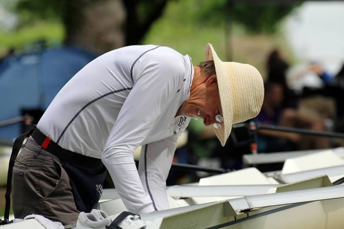 Coach Tim Goss bending a boat to his will - Regionals 2018